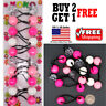 Shades of Pink Braid Girls Scrunchie Jumbo Beads Hair Tie Ball Ponytail Holder