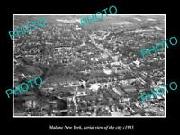 OLD LARGE HISTORIC PHOTO OF MALONE NEW YORK AERIAL VIEW OF THE TOWN c1945 1