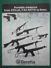 1974 PUB BERETTA 223 CAL 7.62 NATO 9 MM PISTOLET FUSIL AUTOMATIQUE ORIGINAL AD