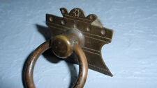Antique Eastlake Drop Ring Pull Handle Furniture Hardware Aged Brass Single Hole