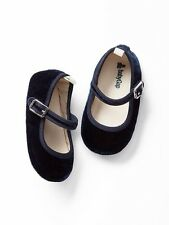GAP Baby Girl Size 3-6 Months NWT Navy Blue Velvet Mary Jane Flats Shoes