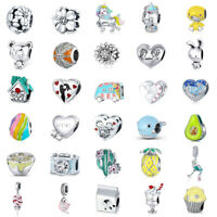 VOROCO Genuine 925 Silver Charms Multiple Charm beads fit for European bracelet