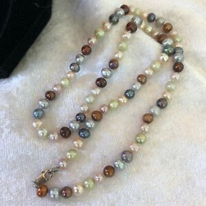 """Vintage Genuine Pearl Sterling Silver Clasp Necklace Pink, Blue-Gray, Amber 18"""""""