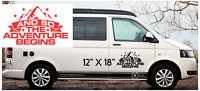 "AND SO THE ADVENTURE BEGINS   Car/Van/ caravan/ boat Window Sticker 12"" X 18"""