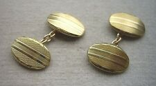 Elegant & Unused Vintage Art Deco Gold Plated? Oval Cufflinks