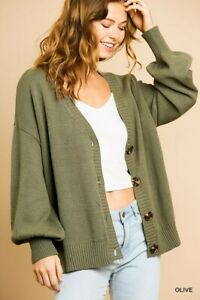 Umgee Olive Green Button Front Long Sleeve Cardigan Sweater Size Small