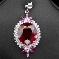 PIGEON BLOOD RED RUBY PENDANT OVAL 38.70 CT. SAPPHIRE 925 STERLING SILVER WOMAN