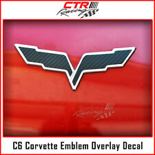 C6 Corvette Flag Emblem Overlay Decal Black Carbon Fiber 2005-2013