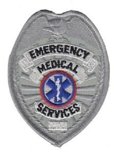 EMS Emergency Medical Services Patch Sheild Silver Color-Sewn On