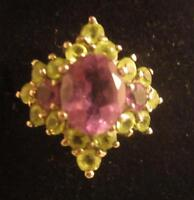 WOW! STERLING 3 AMETHYST RING W/ 2.4 CT CENTER & PERIDOT CLUSTER FRAME- SIZE 6.5