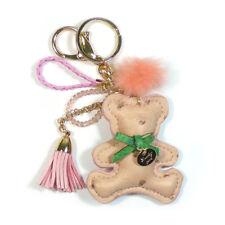 TB Women's Soft Teddy Bear Plush Tassel Shinny Beads Fur Charm Fashion Keychains