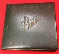 "Vintage 1960s Sm Pocket Snapshot Photo Album Dark Green Leatherette ""Photos"""