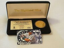 """ALEX RODRIGUEZ { ROOKIE} MARINERS 24KT GOLD PLATED MINT SET COIN """"HIGHLAND MINT"""
