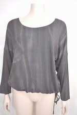 Matti Mamane top SZ M NWT dark gray drawstring waist scoopneck 3/4 sleeve new