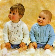 """Vintage Knitting Pattern 2 Baby Sweaters in DK 18"""", 20"""" & 22"""" Chest 66"""