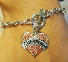 Cure Ms Bracelet Orange Ribbon Awareness Heart Rhinestone Chain Bracelet Jewelry