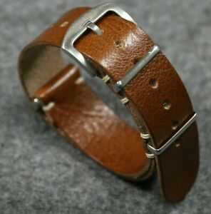Brown Watch Strap Military Style Italian Vintage Leather watch band 18 20 22 24m