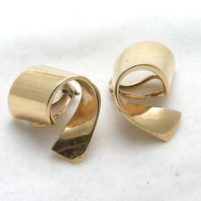 Vintage14k yellow gold Clip On Earrings ribbon swirl large Estate
