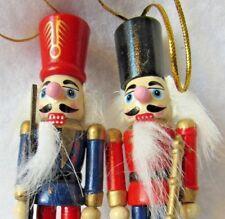 "2 Vintage 4"" Wood Nutcracker Christmas Tree Ornament Nice Detail"