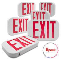 [6 Pack] Red Letter LED Exit Emergency Sign Light w/ Battery Back-up NEW US