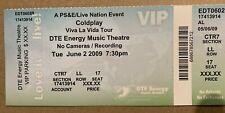 BIGLIETTO DEI COLDPLAY Viva La Vida Tour Ticket 06/02/09 Detroit