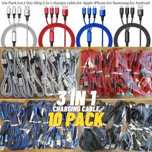 10PACK 3A Fast USB Charging Cable 3 in 1 Charger Cord For iPhone USB-C Micro USB