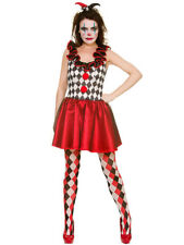 Adult Harlequin Jester Deluxe Costume Ladies Clown Halloween Fancy Dress Outfit