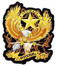 Texas Pride Flaming Eagle Longhorn Steer Skull Lone Star Biker Patch Large