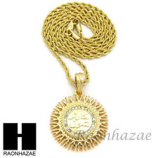 "HIP HOP ICED OUT GOLD ROUND ALLAH PENDANT 2mm 24"" ROPE CHAIN NECKLACE SN243"