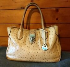 DOONEY & BOURKE Sand Tan OSTRICH EMBOSSED LEATHER SATCHEL Tote