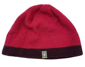 SmartWool Knit Beanie Hat Red Maroon Wool Blend