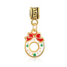 18K gilded Christmas LAMPWORK fit European Charm Bracelet pendant Chain B#316