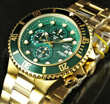Invicta Men's 50mm Grand Diver Chronograph Green Dial 18K Gold Plated SS Watch