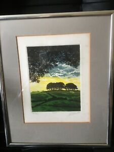 Ltd  edition hand printed framed etching of trees - by & signed by David Beattie