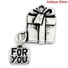 10 x Gift Box For You Charms - Present Charms Tibetan Silver - Gift Boxes