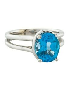18K WHITE GOLD 2.87 FINE SWISS BLUE TOPAZ SOLITAIRE COCKTAIL RING, NWT