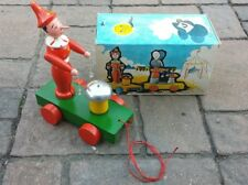 Vintage Rare Pinocchio Toys Wooden Ding & Dong Car Pull Toy W/Box Made in Czech