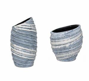 Vase/Planter OysterBlue Stoneware Ceramic Modern Design Large/Medium