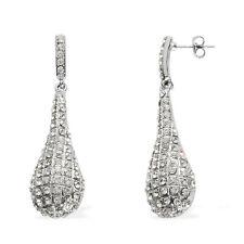 Sparkling White Austrian Crystal Drop/Dangle Hook Earrings in Silvertone