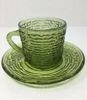 Vintage Soreno Glass Green Coffee Set Mid-Century Cup & Saucer