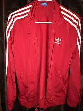 Adidas Red Vintage Logo White 3 Stripe Full Zip Mock Retro Track Jacket Firebird