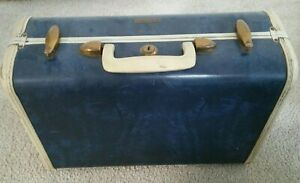 Samsonite 4715 Blue marble Shwayder Suitcase 15X10X7 carry-on overnight vintage