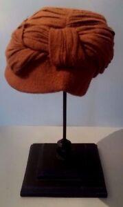 Very Beautiful Hat Woolen Cloth Brown Janine Paris Vintage French Paris Hat