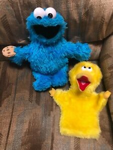 Sesame Street Big Bird & Cookie Monster hand puppets Applause Fisher-Price