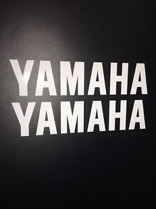 (X2) YAMAHA LOGO Stickers Decals Motorbike Tank Motorcycle 200x45mm GLOSS WHITE
