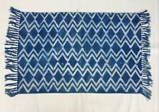 Handmade Blue Indigo Area Rugs Dhurrie Indian Kilim Printed Natural Dye 2x3-3011