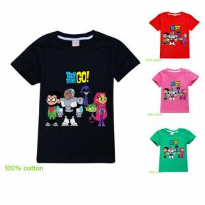 Teen Titans GO! Children Youth Short Sleeve T-Shirt Tops Kids 100% Cotton Tee