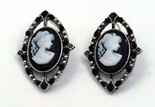 New One Of The Kind Silver Tone Victorian Lady Style Cameo Stud Earrings