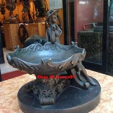 Art Deco Sculpture Lovely Girl Woman Compote Tray Bronze Statue
