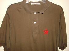 People's Liberation Men's Brown Red logo design polo Shirt Size Medium